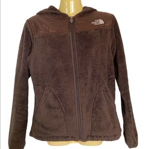 The North Face Hooded Zip Up Fleece Jacket Brown Small